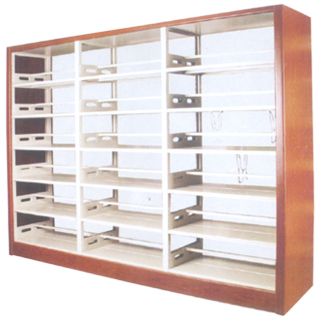 SL-S7型 木护板双柱双面书架(1列3组)